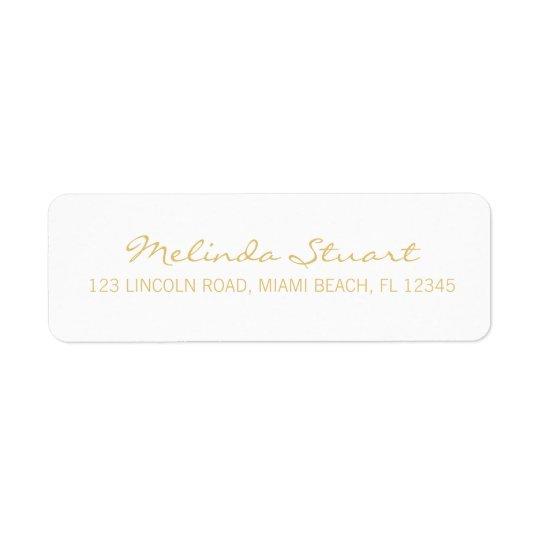 Blanc moderne simple professionnel et or étiquettes d'adresse retour