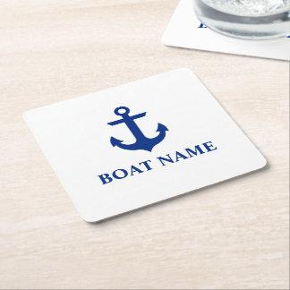 Blanc nautique d'ancre de nom de bateau dessous-de-verre carré en papier