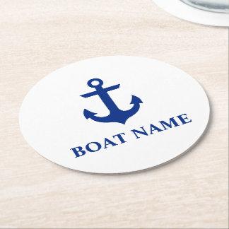 Blanc nautique d'ancre de nom de bateau dessous-de-verre rond en papier