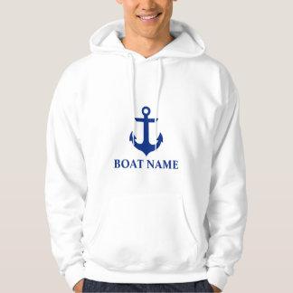Blanc nautique d'ancre de nom de bateau veste à capuche