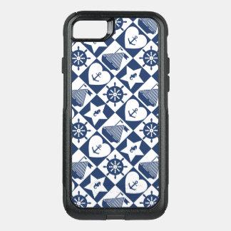 Blanc nautique de bleu marine checkered