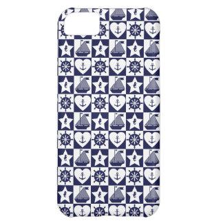 Blanc nautique de bleu marine checkered coque iPhone 5C