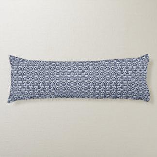 Blanc nautique de bleu marine checkered coussins longs