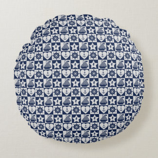 Blanc nautique de bleu marine checkered coussins ronds