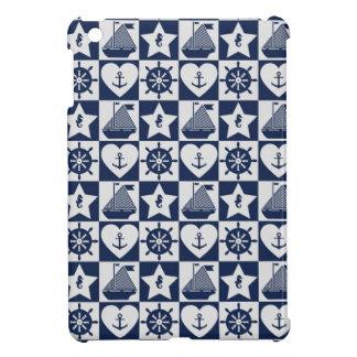 Blanc nautique de bleu marine checkered étui iPad mini