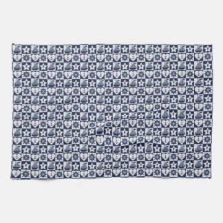 Blanc nautique de bleu marine checkered linge de cuisine