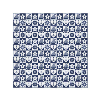Blanc nautique de bleu marine checkered toile