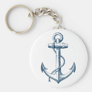 Blanc nautique de bleu marine de cadeau de clé de porte-clé rond
