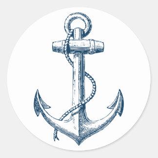 Blanc nautique de bleu marine de cadeau de décor sticker rond
