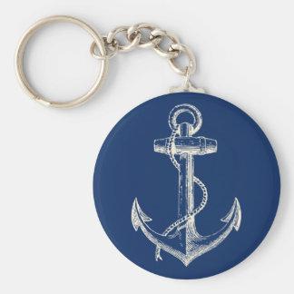 Blanc nautique de bleu marine de cadeau de porte - porte-clé rond