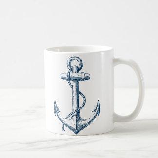 Blanc nautique de bleu marine de cadeau de tasse
