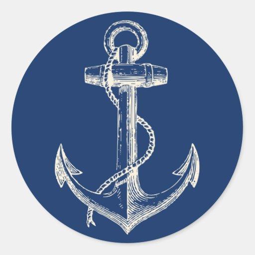Blanc nautique de bleu marine de décor autocollant rond