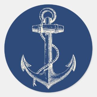 Blanc nautique de bleu marine de décor sticker rond