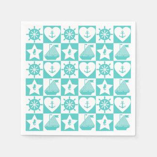 Blanc nautique de menthe de sarcelle d'hiver serviette jetable
