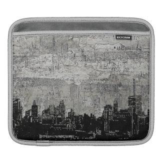 Blanc noir de Scape de ville urbaine sale Poches iPad