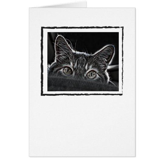 Blanc noir et blanc de carte de voeux de chat à