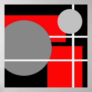Blanc noir gris rouge abstrait AP0001 Posters