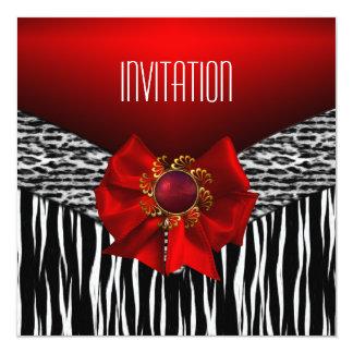Blanc noir rouge sauvage d'invitation carton d'invitation  13,33 cm