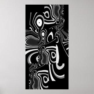 Blanc noir ultra moderne abstrait 2 d'affiche d'ar poster