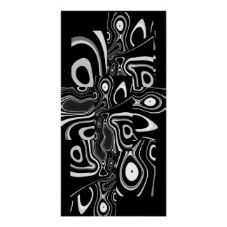 Blanc noir ultra moderne abstrait 3 d'affiche d'ar poster