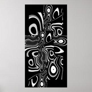Blanc noir ultra moderne abstrait 3 d'affiche d'ar posters