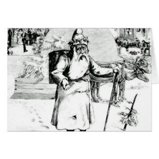 Blanc noir vintage de Père Noël de carte de Noël