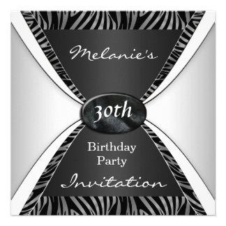 Blanc noir zèbre élégant d anniversaire d invitati