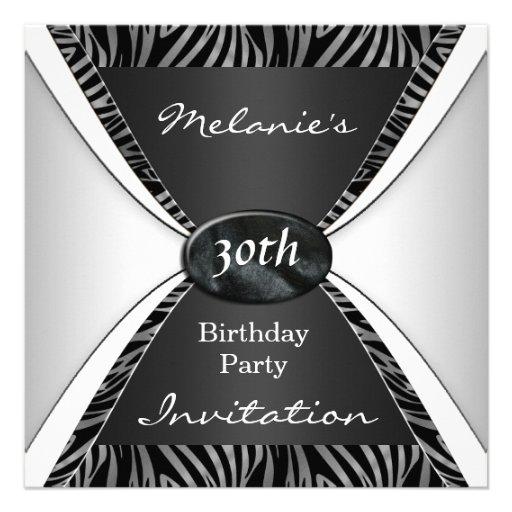 Blanc noir zèbre élégant d'anniversaire d'invitati bristol personnalisé