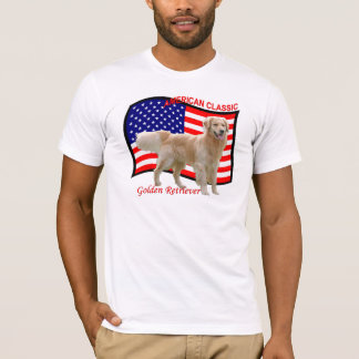 Blanc patriotique de T-shirt de golden retriever