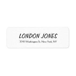 Blanc professionnel simple élégant audacieux étiquette d'adresse retour