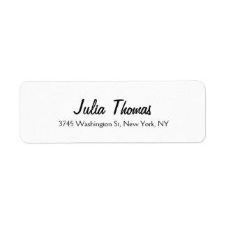 Blanc professionnel simple simple élégant étiquettes d'adresse retour