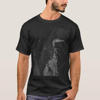 blanc robuste de héron d'ubuntu sur le noir t-shirt