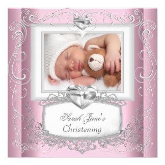 Blanc rose de croix de baptême de baptême de bébé faire-part personnalisables