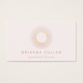 Blanc rose élégant d'esthéticien de cercle d'or cartes de visite