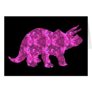 Blanc rose lumineux de carte de voeux de dinosaure