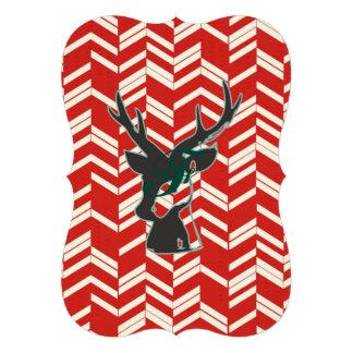 Blanc rouge, chevron, zigzag, cerf commun, noir, à carton d'invitation  12,7 cm x 17,78 cm
