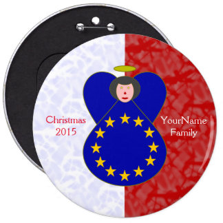Blanc rouge de drapeau Noir-Haired d'Union Badges