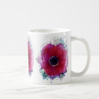 Blanc rouge de pavots tasse classique #1 de 11