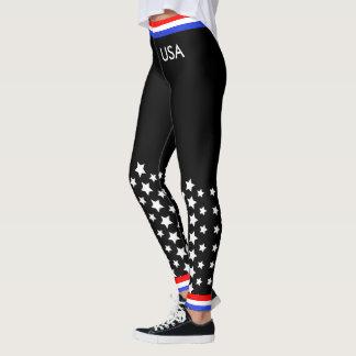 Blanc rouge et bleu sur le noir leggings