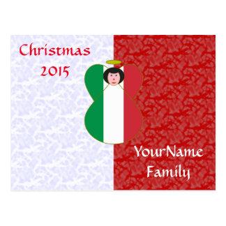 Blanc rouge Noir-haired d'ange italien de drapeau Cartes Postales