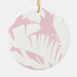 Blanc sur le motif tropical rose de feuille de ornement rond en céramique