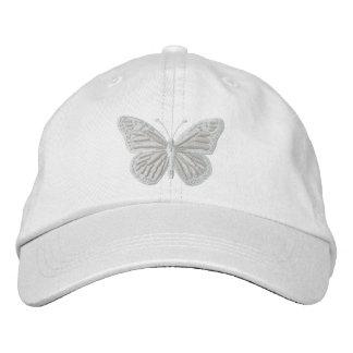 Blanc sur le papillon de monarque blanc casquette brodée