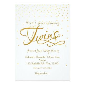 Blanc unisexe de baby shower de JUMEAUX et Carton D'invitation 12,7 Cm X 17,78 Cm