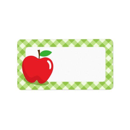 Blanc vert pomme rouge de frontière de motif de étiquette d'adresse