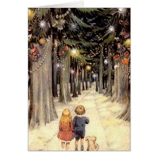 Blanc vintage de chiot d'enfants de carte de Noël