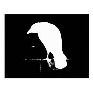 Blanc vintage de silhouette de Raven sur le noir - Carte Postale