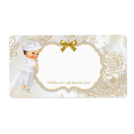 Blanc vintage d'or de baptême de bébé étiquette d'expédition