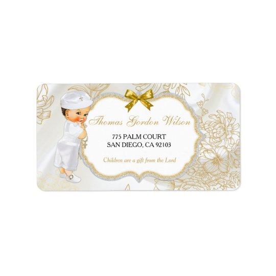 Blanc vintage d'or de baptême de bébé étiquettes d'adresse