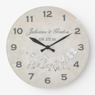 Blanc vintage sur l'horloge blanche de mariage grande horloge ronde