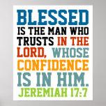 Blessed est le 17:7 de Jérémie de vers de bible d' Affiche